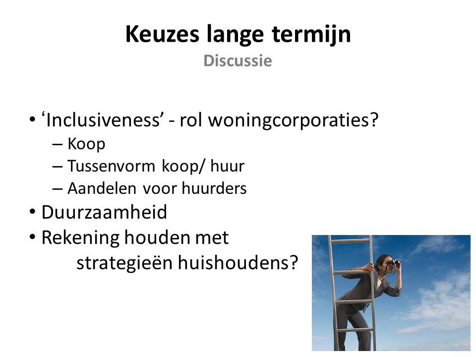 Keuzes lange termijn Discussie 'Inclusiveness' - rol woningcorporaties.