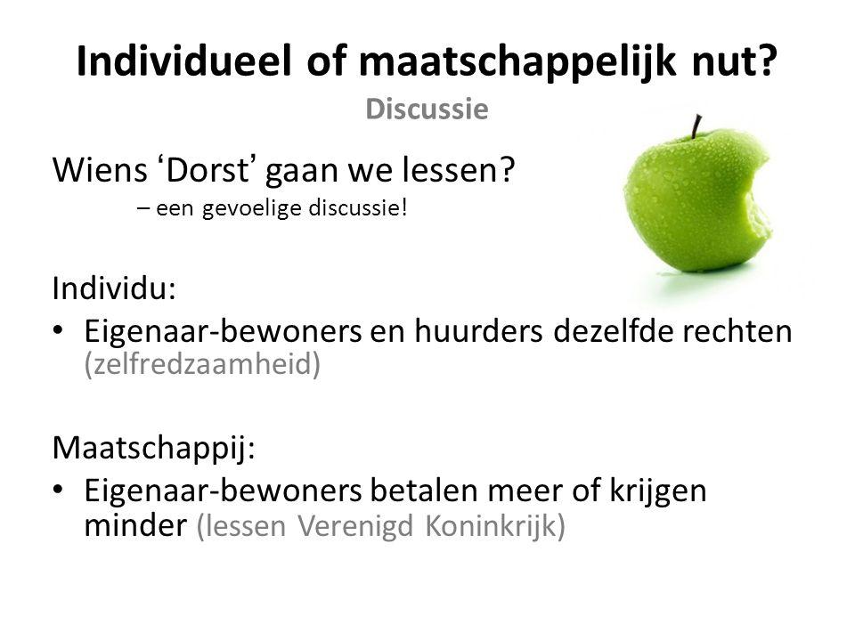 Individueel of maatschappelijk nut. Discussie Wiens 'Dorst' gaan we lessen.