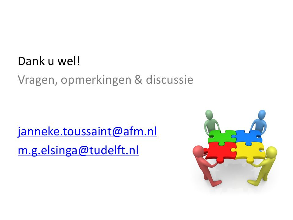 Dank u wel! Vragen, opmerkingen & discussie janneke.toussaint@afm.nl m.g.elsinga@tudelft.nl