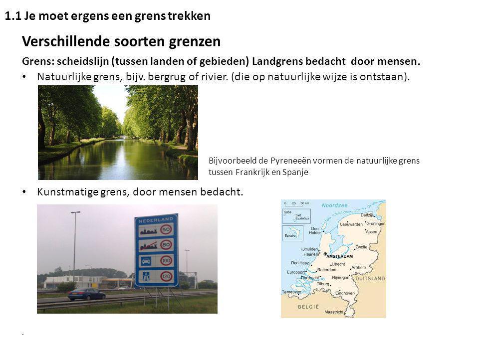 Verschillende soorten grenzen Grens: scheidslijn (tussen landen of gebieden) Landgrens bedacht door mensen. Natuurlijke grens, bijv. bergrug of rivier
