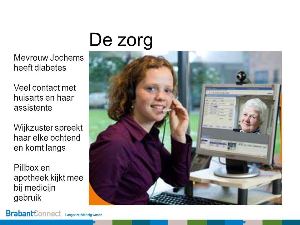 De zorg Mevrouw Jochems heeft diabetes Veel contact met huisarts en haar assistente Wijkzuster spreekt haar elke ochtend en komt langs Pillbox en apotheek kijkt mee bij medicijn gebruik