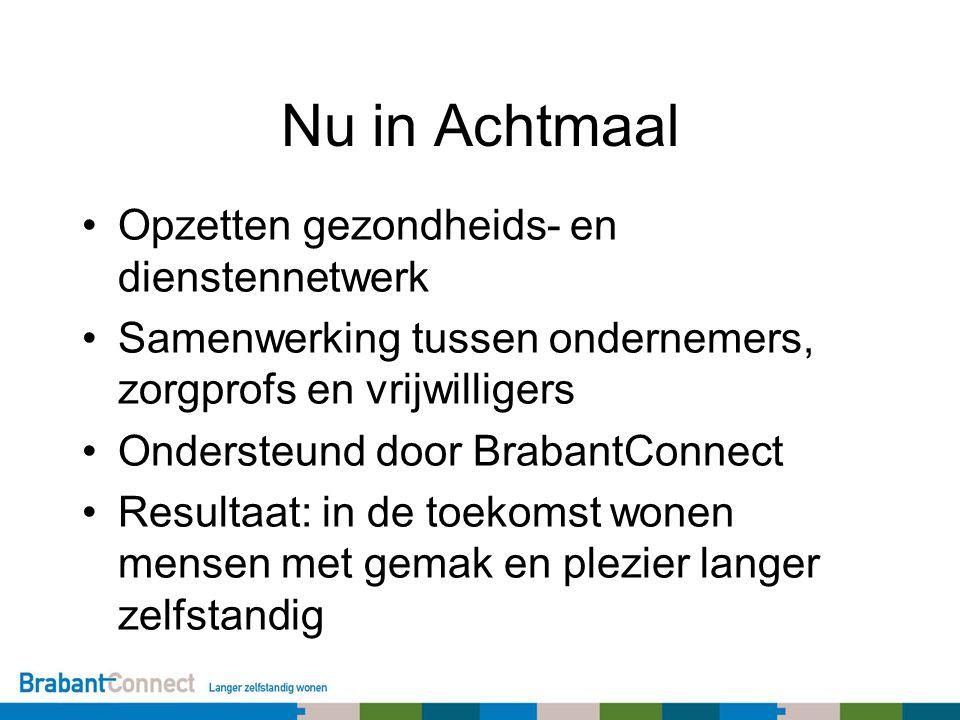 Nu in Achtmaal Opzetten gezondheids- en dienstennetwerk Samenwerking tussen ondernemers, zorgprofs en vrijwilligers Ondersteund door BrabantConnect Re