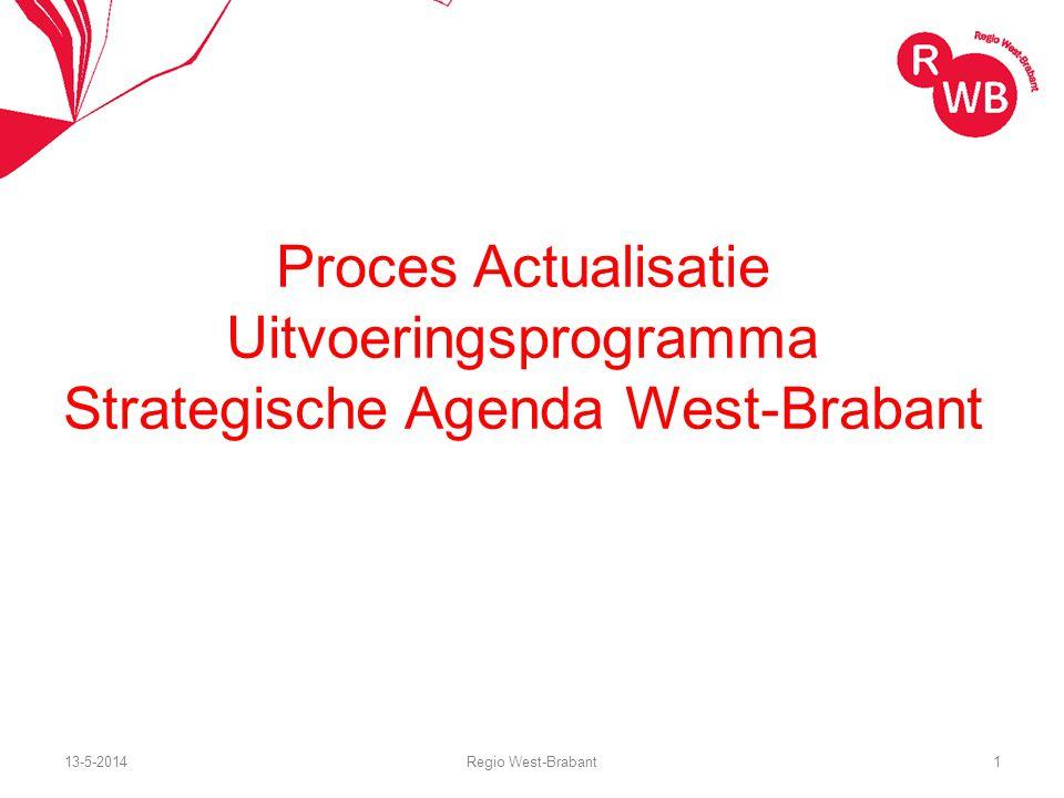 Proces Actualisatie Uitvoeringsprogramma Strategische Agenda West-Brabant 13-5-2014Regio West-Brabant1