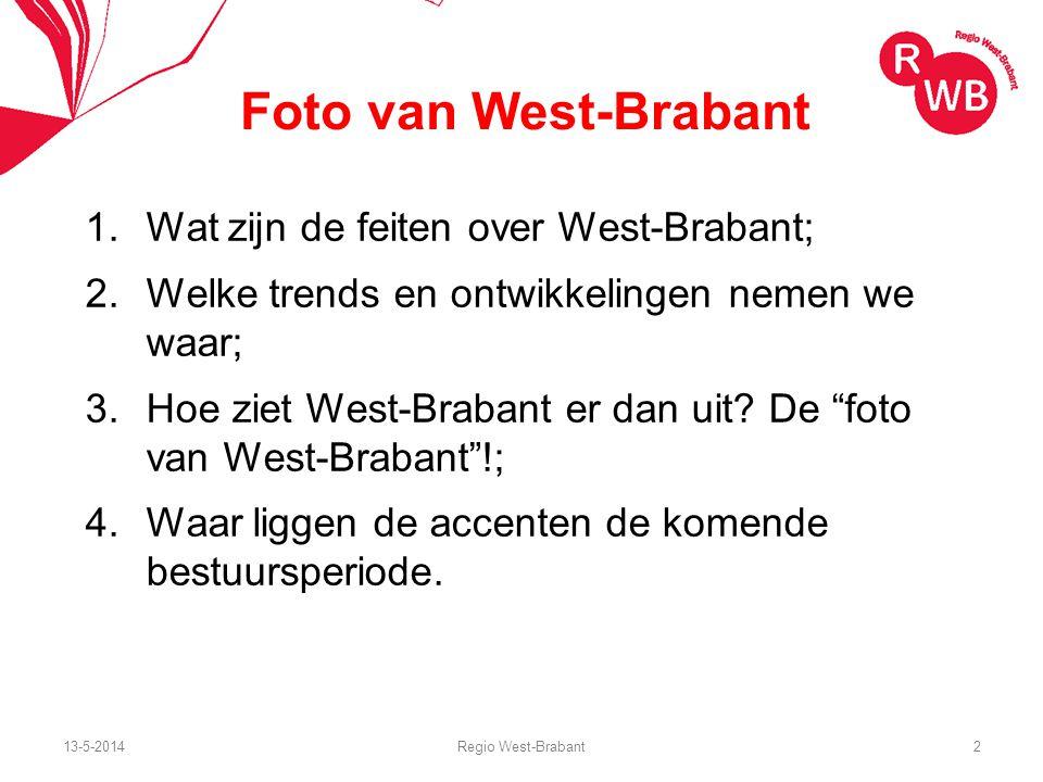 Foto van West-Brabant 1.Wat zijn de feiten over West-Brabant; 2.Welke trends en ontwikkelingen nemen we waar; 3.Hoe ziet West-Brabant er dan uit.