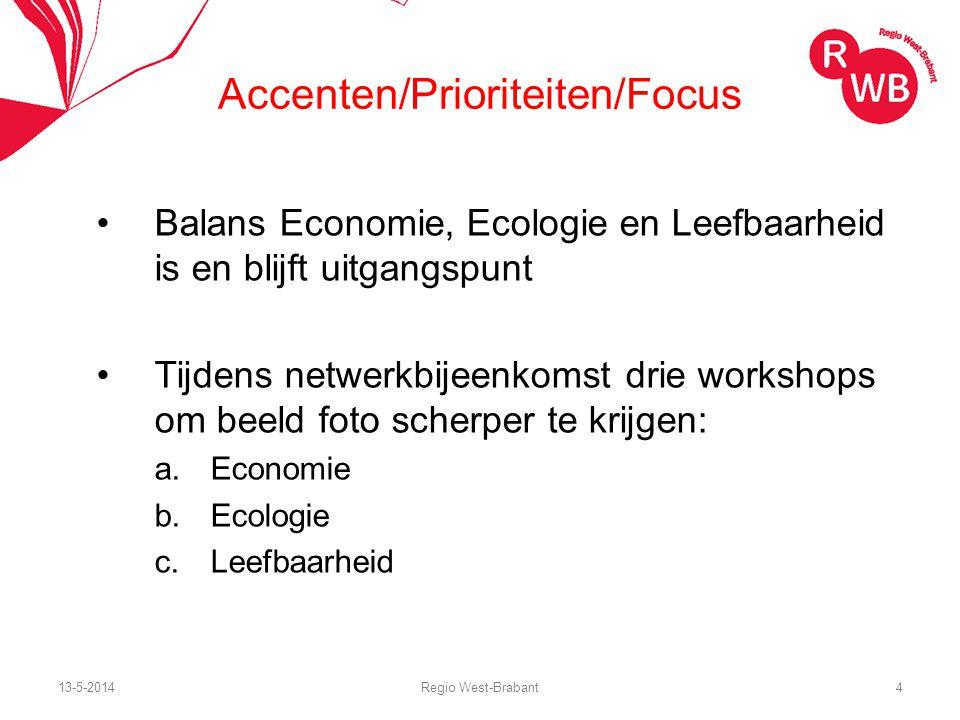 Accenten/Prioriteiten/Focus Balans Economie, Ecologie en Leefbaarheid is en blijft uitgangspunt Tijdens netwerkbijeenkomst drie workshops om beeld foto scherper te krijgen: a.Economie b.Ecologie c.Leefbaarheid 13-5-2014Regio West-Brabant4