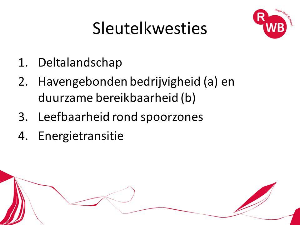 Sleutelkwesties 1.Deltalandschap 2.Havengebonden bedrijvigheid (a) en duurzame bereikbaarheid (b) 3.Leefbaarheid rond spoorzones 4.Energietransitie