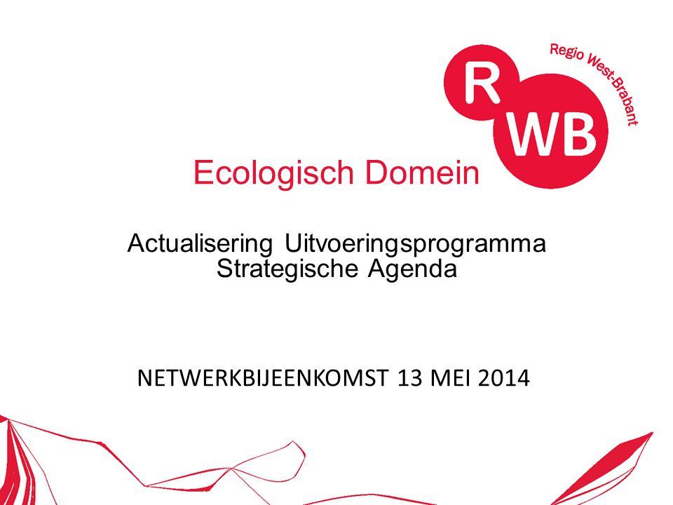 Ecologisch Domein Actualisering Uitvoeringsprogramma Strategische Agenda NETWERKBIJEENKOMST 13 MEI 2014