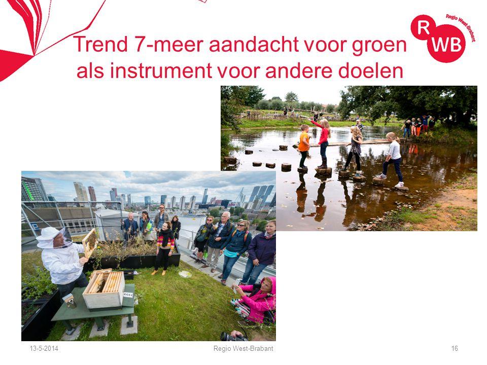 13-5-2014Regio West-Brabant16 Trend 7-meer aandacht voor groen als instrument voor andere doelen