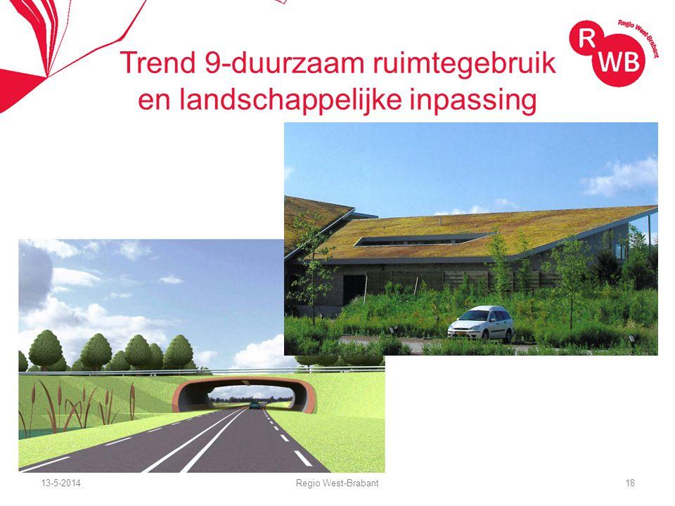 13-5-2014Regio West-Brabant18 Trend 9-duurzaam ruimtegebruik en landschappelijke inpassing