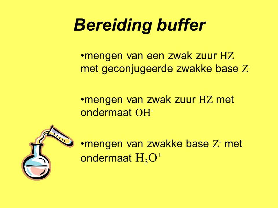 Bereiding buffer mengen van een zwak zuur HZ met geconjugeerde zwakke base Z - mengen van zwak zuur HZ met ondermaat OH - mengen van zwakke base Z - m