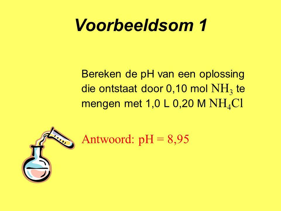 Voorbeeldsom 1 Bereken de pH van een oplossing die ontstaat door 0,10 mol NH 3 te mengen met 1,0 L 0,20 M NH 4 Cl Antwoord: pH = 8,95