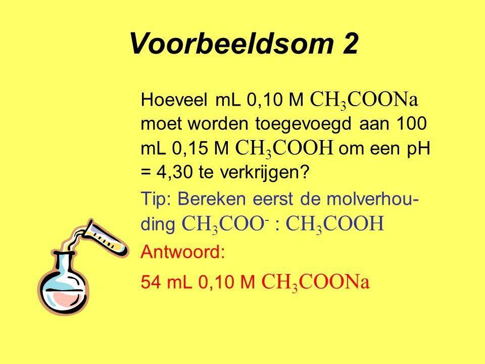 Voorbeeldsom 3 Bereken hoeveel mL 0,10 M NaOH moet worden toegevoegd aan 500 mL 0,10 M CH 3 COOH om een pH = 4,30 te verkrijgen Tip: stel de hoeveelheid mol OH - die nodig is op x Antwoord: 132 mL 0,10 M NaOH