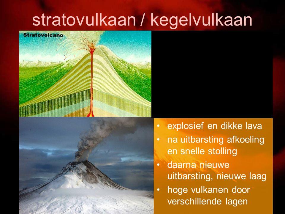stratovulkaan / kegelvulkaan explosief en dikke lava na uitbarsting afkoeling en snelle stolling daarna nieuwe uitbarsting, nieuwe laag hoge vulkanen