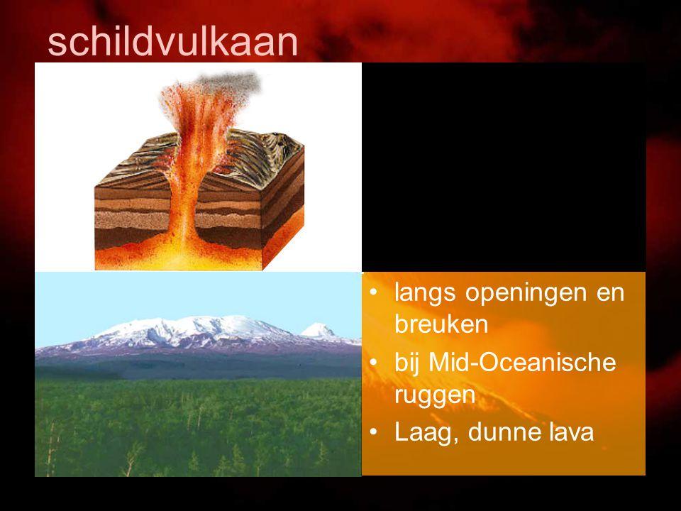 schildvulkaan langs openingen en breuken bij Mid-Oceanische ruggen Laag, dunne lava