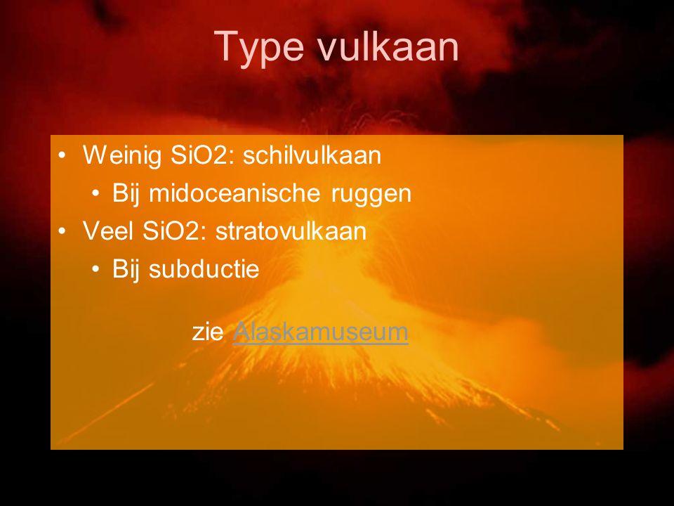 Type vulkaan Weinig SiO2: schilvulkaan Bij midoceanische ruggen Veel SiO2: stratovulkaan Bij subductie zie AlaskamuseumAlaskamuseum
