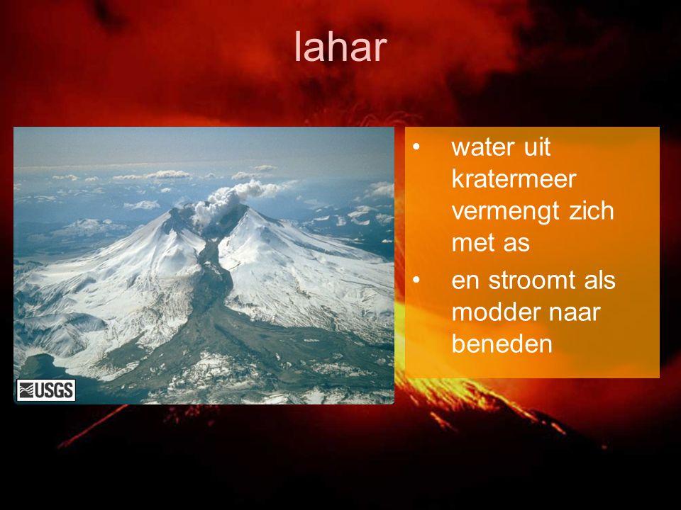 lahar water uit kratermeer vermengt zich met as en stroomt als modder naar beneden