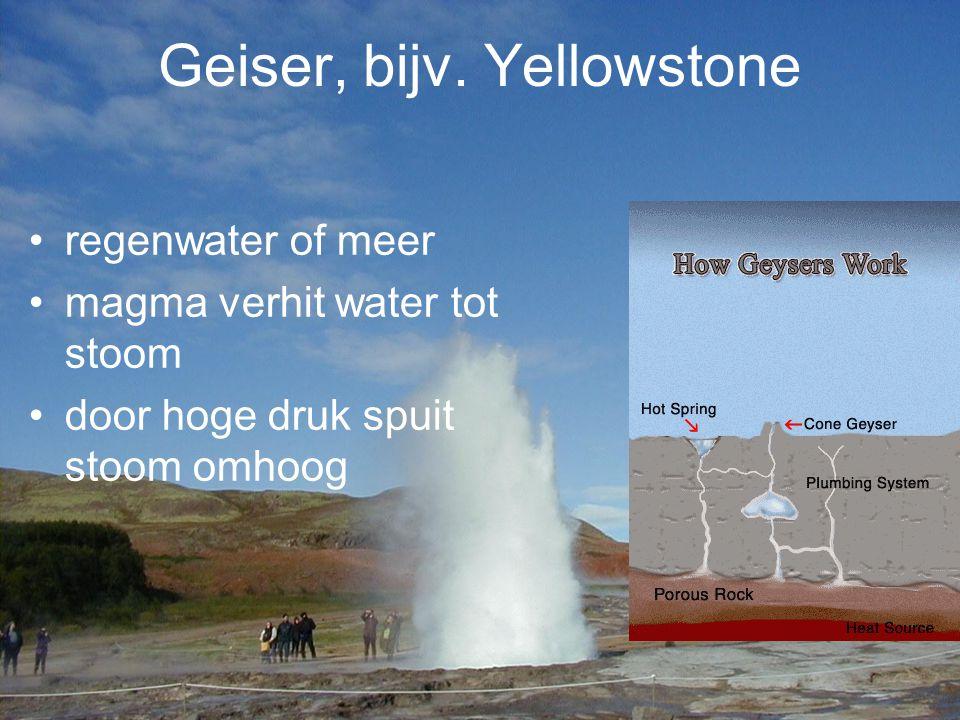 Geiser, bijv. Yellowstone regenwater of meer magma verhit water tot stoom door hoge druk spuit stoom omhoog