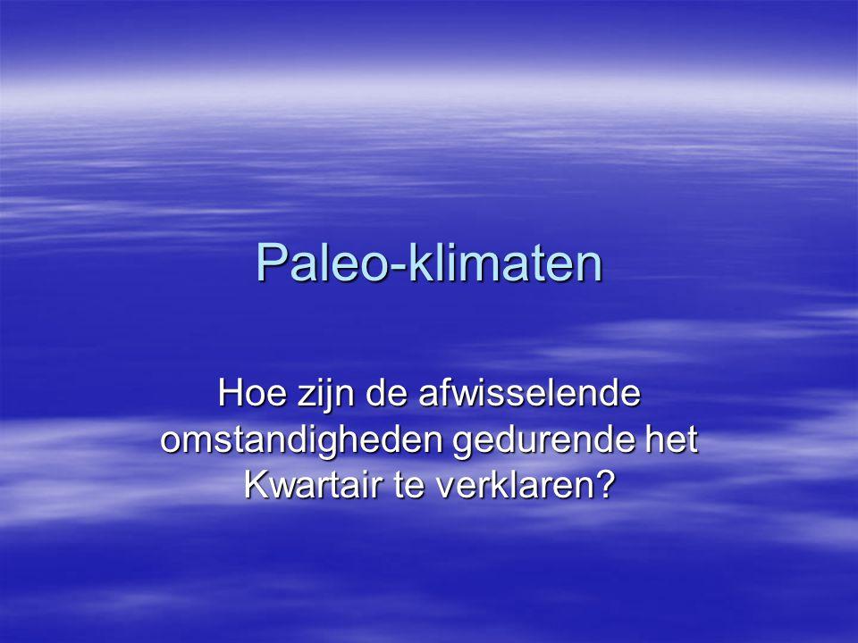 Paleo-klimaten Hoe zijn de afwisselende omstandigheden gedurende het Kwartair te verklaren?