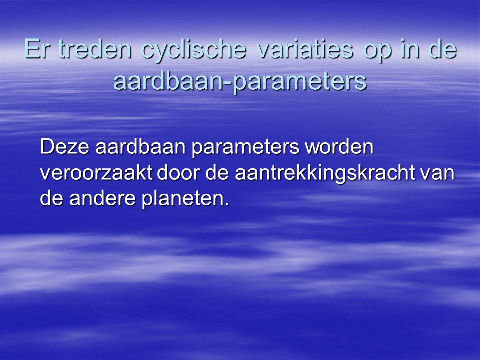 Er treden cyclische variaties op in de aardbaan-parameters Deze aardbaan parameters worden veroorzaakt door de aantrekkingskracht van de andere planet