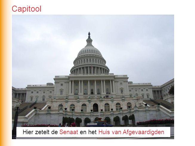 Hier zetelt de Senaat en het Huis van Afgevaardigden Capitool