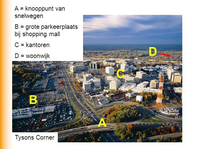 Tysons Corner A B C D A = knooppunt van snelwegen B = grote parkeerplaats bij shopping mall C = kantoren D = woonwijk