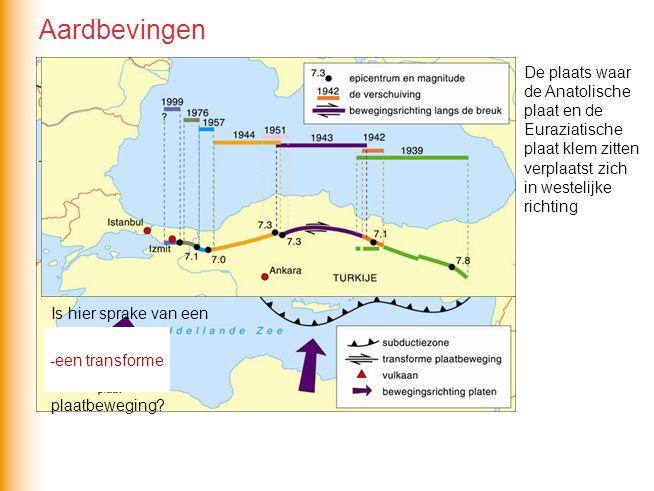De plaats waar de Anatolische plaat en de Euraziatische plaat klem zitten verplaatst zich in westelijke richting Is hier sprake van een -convergente -
