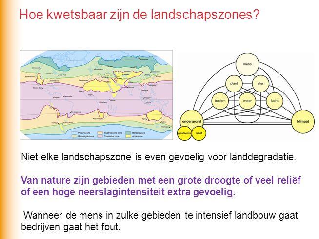 Niet elke landschapszone is even gevoelig voor landdegradatie.