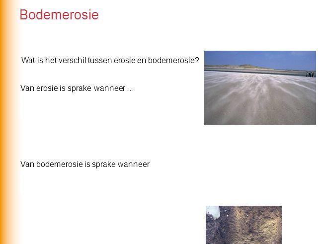 Van erosie is sprake wanneer … stromend water, bewegend ijs of de wind materiaal wegschuren.