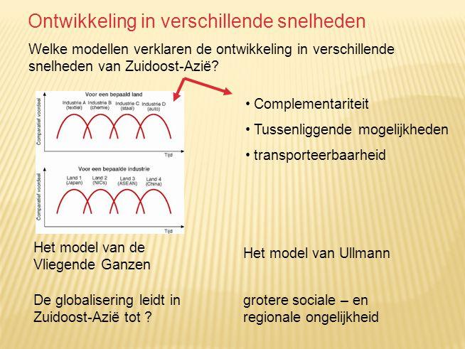 Welke modellen verklaren de ontwikkeling in verschillende snelheden van Zuidoost-Azië? Het model van de Vliegende Ganzen Complementariteit Tussenligge