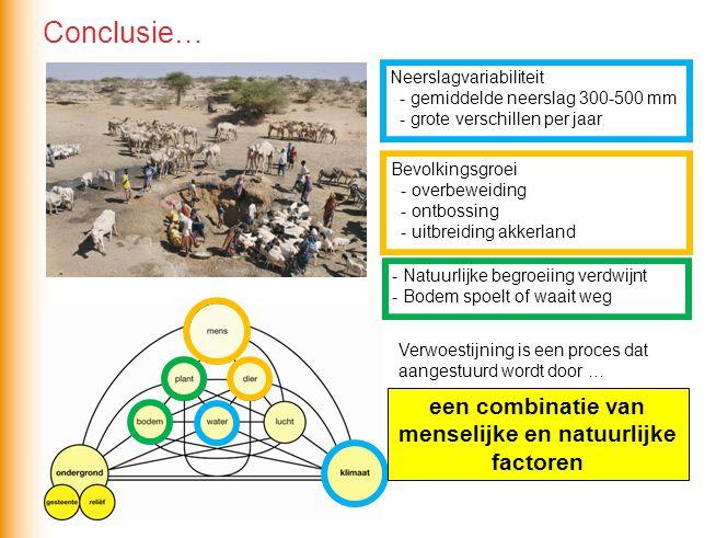 Verwoestijning is een proces dat aangestuurd wordt door … een combinatie van menselijke en natuurlijke factoren Conclusie… Neerslagvariabiliteit - gem
