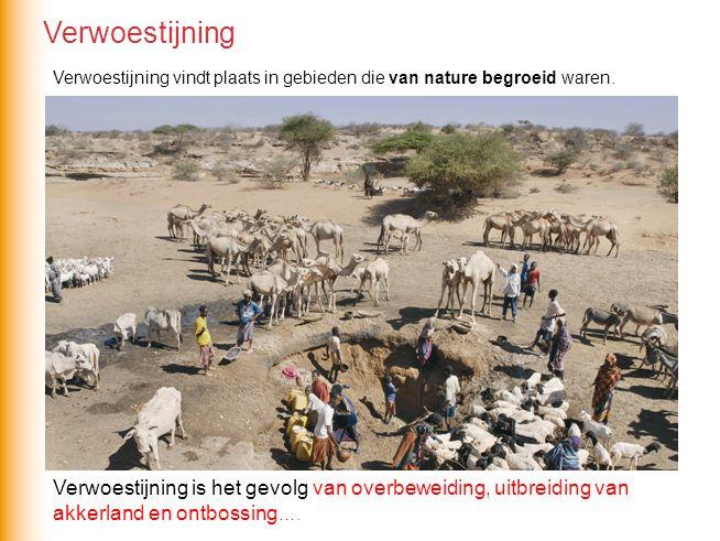 Verwoestijning vindt plaats in gebieden die van nature begroeid waren. Verwoestijning is het gevolg van overbeweiding, uitbreiding van akkerland en on