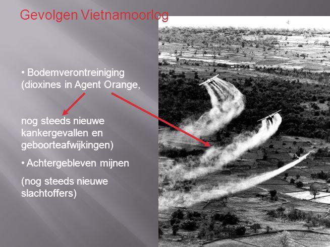 Bodemverontreiniging (dioxines in Agent Orange, nog steeds nieuwe kankergevallen en geboorteafwijkingen) Achtergebleven mijnen (nog steeds nieuwe slachtoffers) Gevolgen Vietnamoorlog