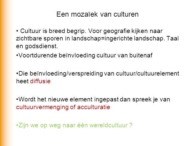 Een mozaïek van culturen Cultuur is breed begrip.
