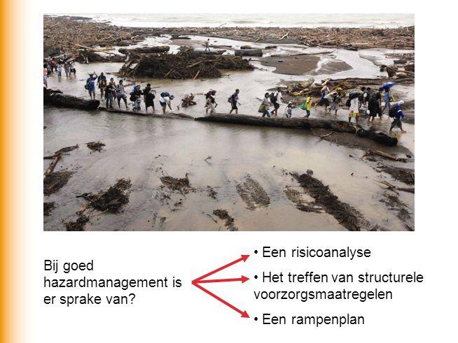 Bij goed hazardmanagement is er sprake van? Een risicoanalyse Het treffen van structurele voorzorgsmaatregelen Een rampenplan