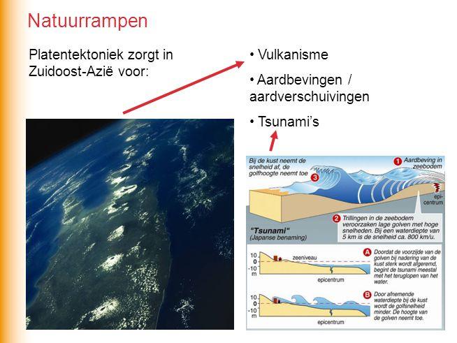 Platentektoniek zorgt in Zuidoost-Azië voor: Vulkanisme Aardbevingen / aardverschuivingen Tsunami's Natuurrampen
