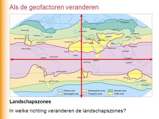 In welke richting veranderen de landschapszones? Landschapszones Als de geofactoren veranderen