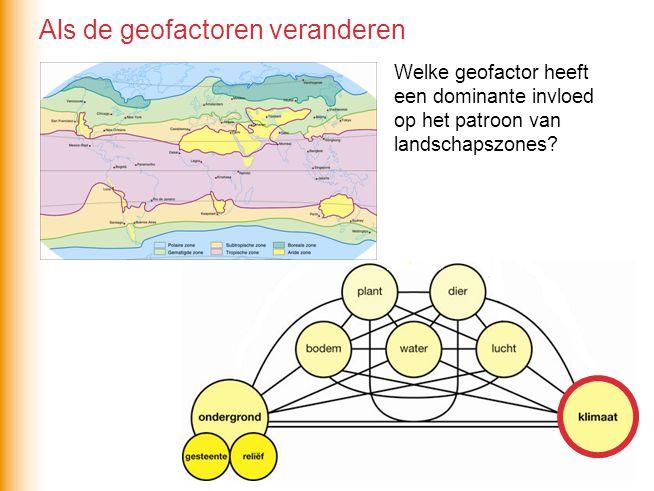 Welke geofactor heeft een dominante invloed op het patroon van landschapszones? Als de geofactoren veranderen