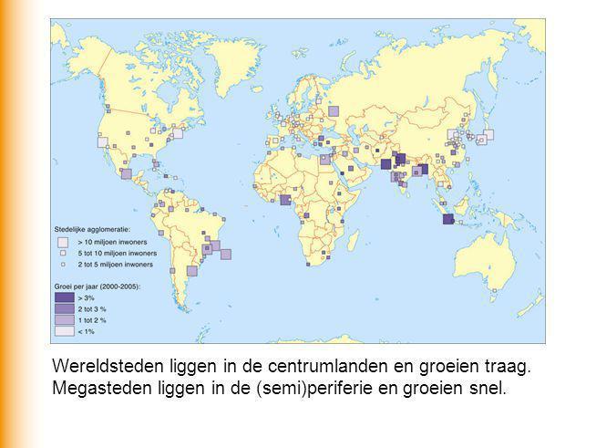 Wereldsteden liggen in de centrumlanden en groeien traag. Megasteden liggen in de (semi)periferie en groeien snel.