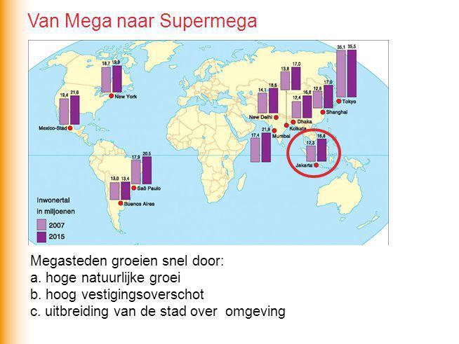 Megasteden groeien snel door: a. hoge natuurlijke groei b. hoog vestigingsoverschot c. uitbreiding van de stad over omgeving Van Mega naar Supermega