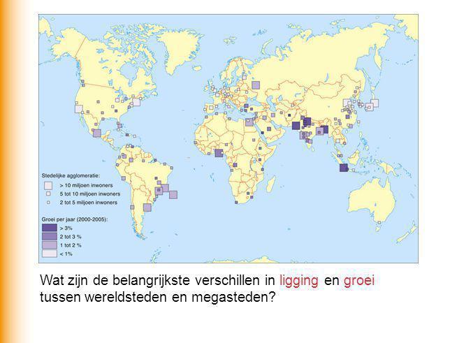 Wat zijn de belangrijkste verschillen in ligging en groei tussen wereldsteden en megasteden?