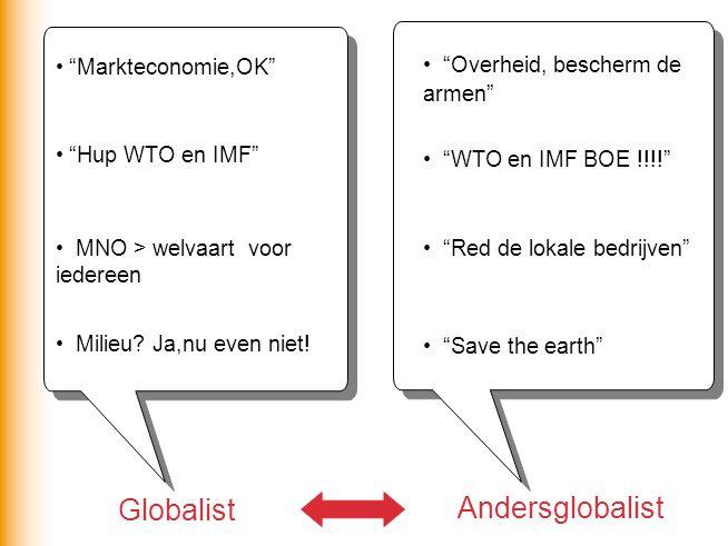 Globalist Andersglobalist Markteconomie,OK Overheid, bescherm de armen Hup WTO en IMF WTO en IMF BOE !!!! MNO > welvaart voor iedereen Red de lokale bedrijven Milieu.