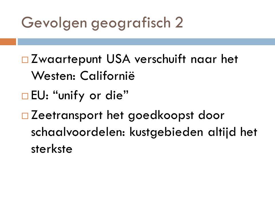 Gevolgen geografisch 2  Zwaartepunt USA verschuift naar het Westen: Californië  EU: unify or die  Zeetransport het goedkoopst door schaalvoordelen: kustgebieden altijd het sterkste