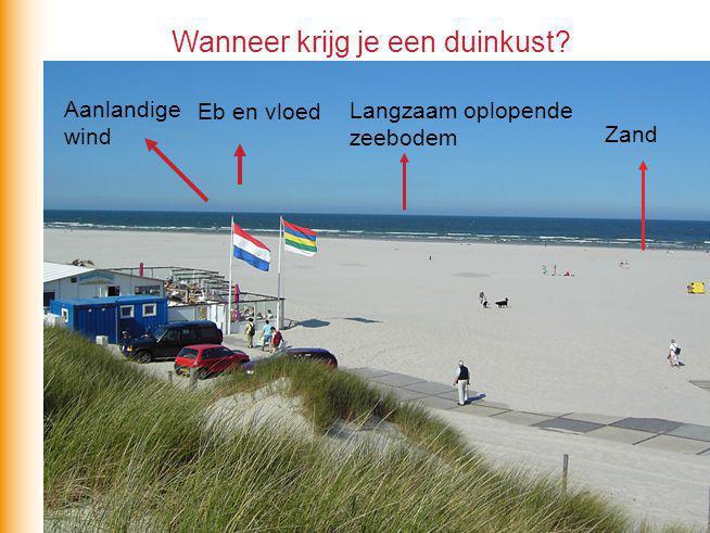 Opbouw: zand wordt aangevoerd vanuit open zee door de vloedstroom kuststroom Regel: de vloedstroom is sterker dan de ebstroom opbouw ?
