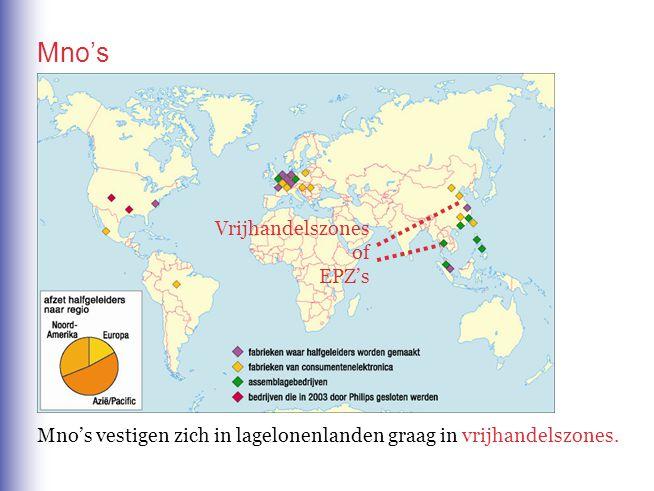 Mno's Mno's vestigen zich in lagelonenlanden graag invrijhandelszones. Vrijhandelszones of EPZ's