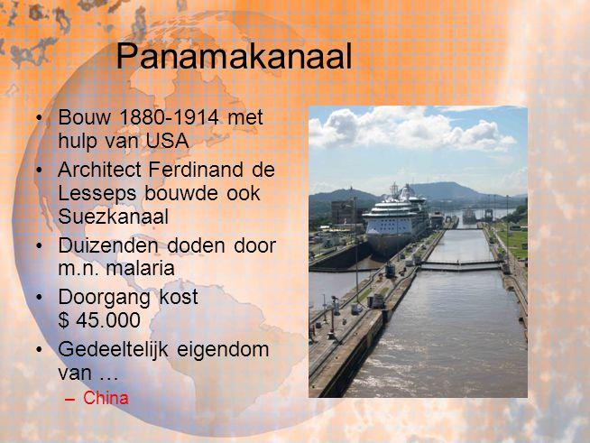 Bouw 1880-1914 met hulp van USA Architect Ferdinand de Lesseps bouwde ook Suezkanaal Duizenden doden door m.n. malaria Doorgang kost $ 45.000 Gedeelte