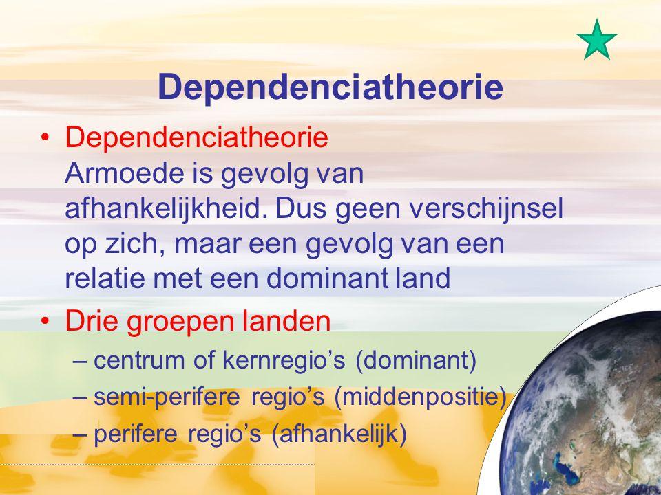 Dependenciatheorie Dependenciatheorie Armoede is gevolg van afhankelijkheid. Dus geen verschijnsel op zich, maar een gevolg van een relatie met een do