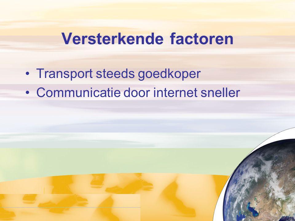 Versterkende factoren Transport steeds goedkoper Communicatie door internet sneller