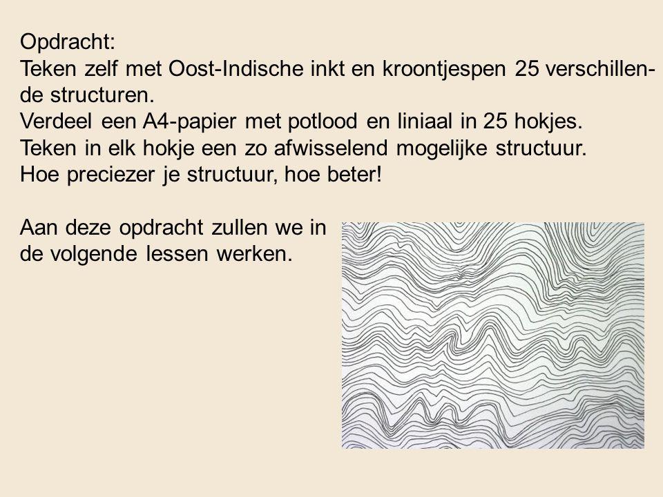 Opdracht: Teken zelf met Oost-Indische inkt en kroontjespen 25 verschillen- de structuren. Verdeel een A4-papier met potlood en liniaal in 25 hokjes.
