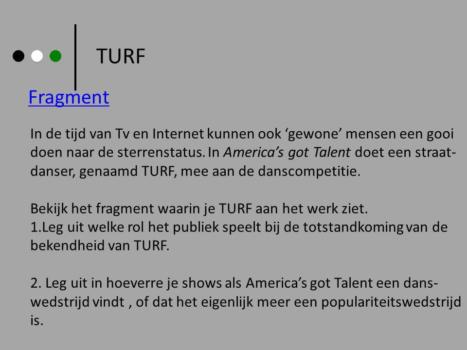 TURF Fragment In de tijd van Tv en Internet kunnen ook 'gewone' mensen een gooi doen naar de sterrenstatus. In America's got Talent doet een straat- d