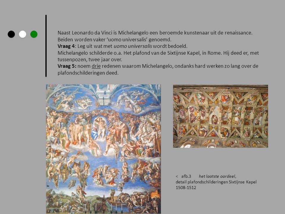 Naast Leonardo da Vinci is Michelangelo een beroemde kunstenaar uit de renaissance. Beiden worden vaker 'uomo universalis' genoemd. Vraag 4: Leg uit w
